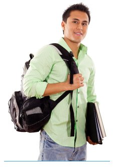 Latino student carrying his backpack